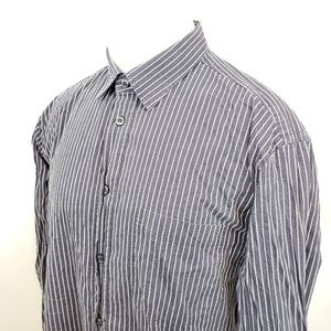 Zegna Sport Shirt Size Large L/S Gray Button Front